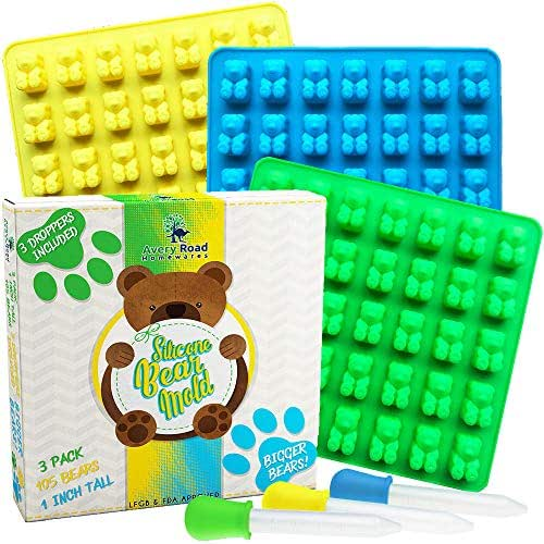 Big Gummy Bear Mold Large Silicone Gummy Molds 1 Inch 3 X Pack with 3 X Droppers and Recipe Pdf - Our Gummie Bear Candy Molds are Bpa Free LFGB FDA Approved Trays for gummies chocolate bears gelatin