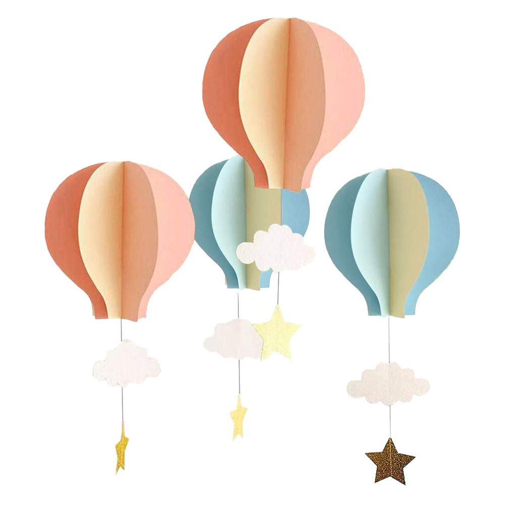 YeahiBaby Papier Girlande 3D Heißluftballon Form mit Wolken Stern Baby Mobile Decke Fenster Wand Hängende Deko 4 Stück