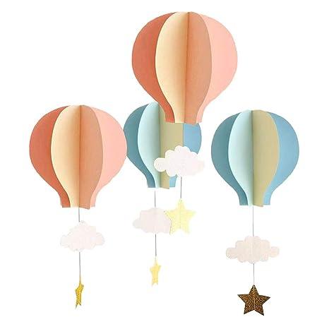 Mongolfiere Di Carta.Yeahibaby 4 Festoni Di Carta In 3d A Forma Di Nuvola E Mongolfiera Decorazioni Da Appendere Per Matrimoni Baby Shower Feste Di Compleanno