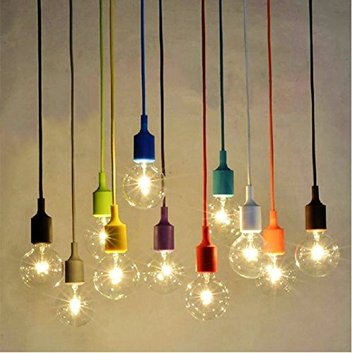 Socket Pendant Light, Ablevel E26 E27 Socket Base Silicon Pendant Hanging Lamp Holder With Wire, 3.3ft Colorful Designer Hard Wired Rope Cord 8 Pack (No Bulb)