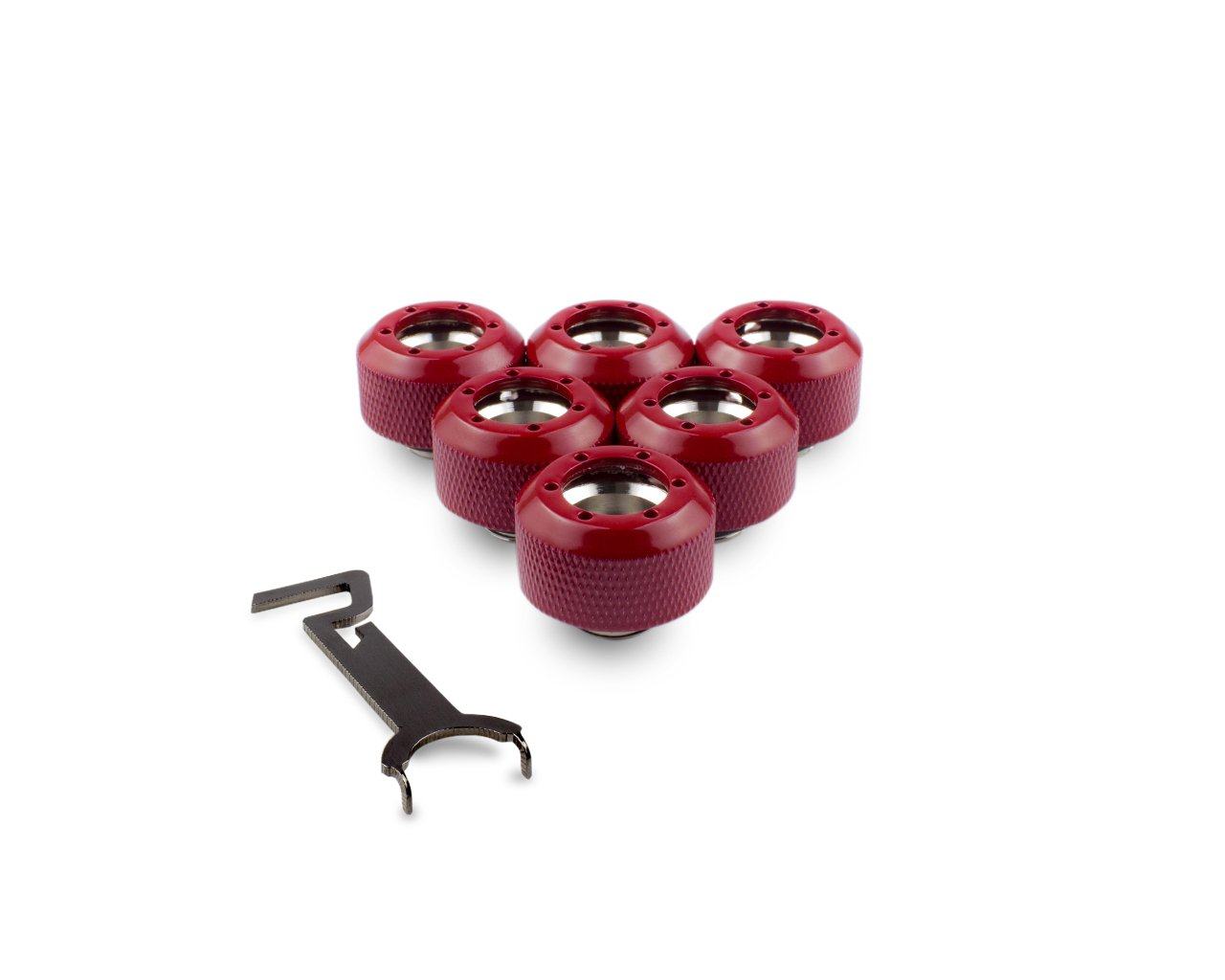 PrimoChill 1/2in. Rigid RevolverSX Series Fitting - Razor Red - 6 Pack