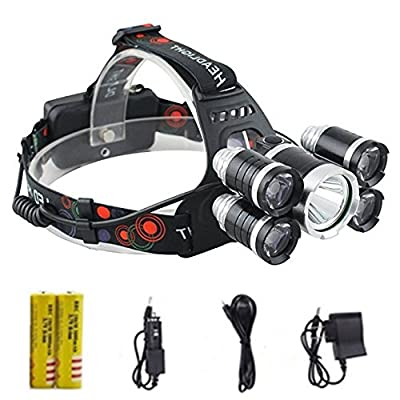 Brightest and Best LED Headlamp 20000 Lumen flashlight - IMPROVED LED, Rechargeable 18650 headlight flashlights, Waterproof Hard Hat Light, Bright Head Lights, Running or Camping headlamps
