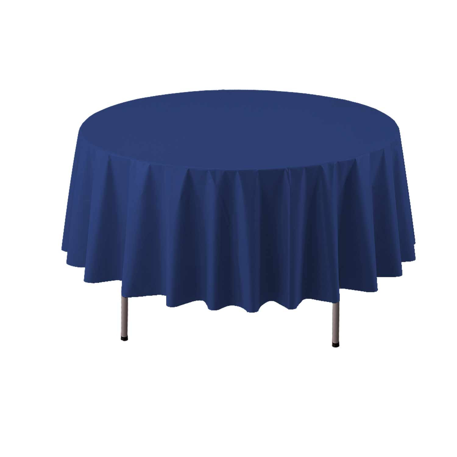 Party Essentials Heavy Duty 84'' Round Plastic Table Cover Available in 22 Colors, Navy Blue