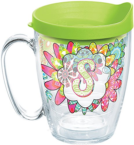 Tervis 1278205 INITIAL-S Flower Burst Tumbler with Wrap and Lime Green Lid 16oz Mug, Clear