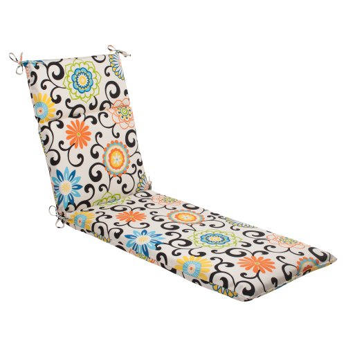 Indoor/Outdoor Pom Pom Play Chaise Lounge Cushion, Lagoon
