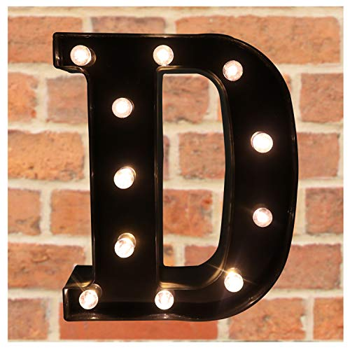 Pooqla Decorative LED Illuminated Letter Marquee Sign - Alphabet Marquee Letters with Lights for Wedding Birthday Party Christmas Night Light Lamp Home Bar Decoration D, Black