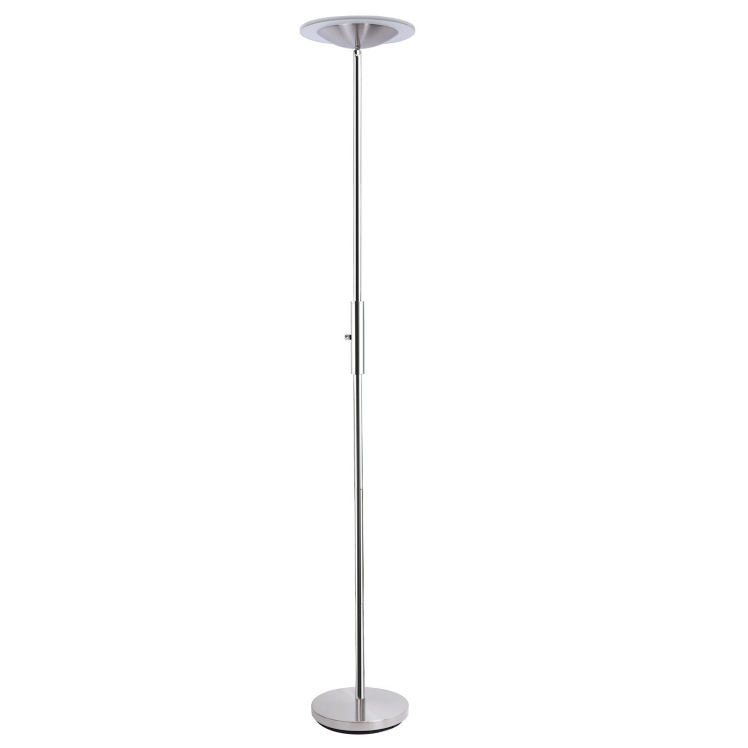 SUNLLIPE LED Torchiere Floor Lamp Acrylic Shade Compatible with Wall Switch 18W 90° Top Adjustable Dimmable Stand up Lamp for Bedroom, Living Room, Office (Satin Nickel)