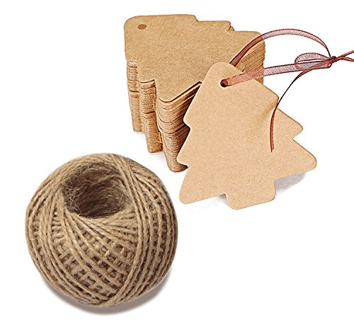 100 PCS Christmas Gift tags Hang Paper/Kraft Tag Tree Shape Craft Lables with 30 Meters Perfect for Decorating Christmas Tree, Handmade Work G2PLUS