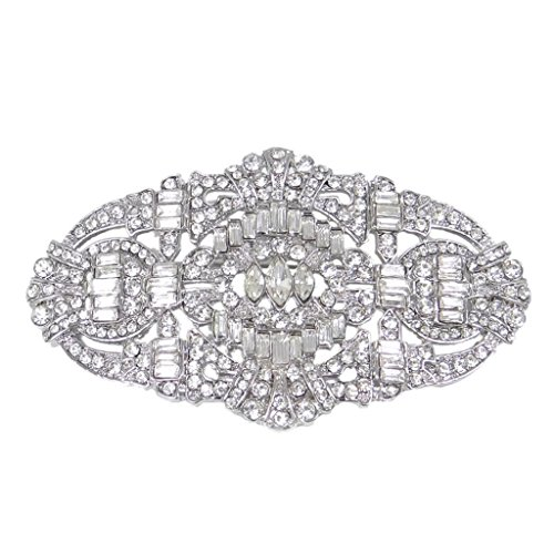EVER FAITH® Wedding Art Deco Buckle Brooch Clear Austrian Crystal Silver-tone (Faith Buckle)