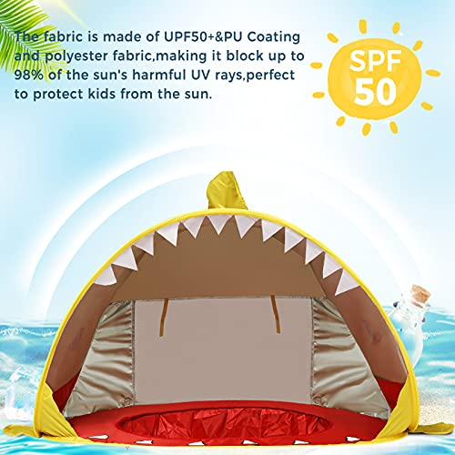 Pop up Baby Beach Tent, Shark Portable Folding Sun Shelter Tent with Pool for Toddler with Detachable UV Protection UPF 50+ Sun Shelter Yellow