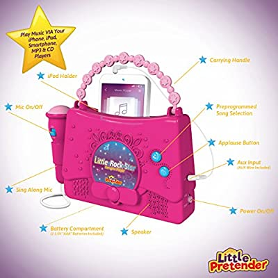 Kids Karaoke Machine for Girls - Little Rock Star Music Player - 10 Programmed Songs - iPod Holder - AUX Cable and Batteries Included: Toys & Games