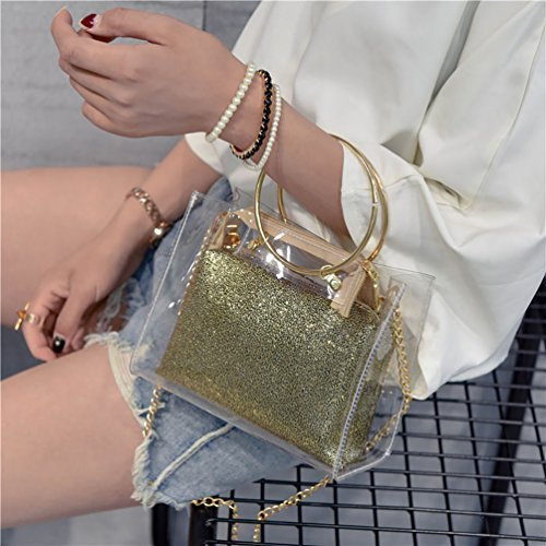 Crossbody ViewHuge with Interior PVC Shoulder Silver Chain Handbag Bag Transparent Pocket qqH8Rnx