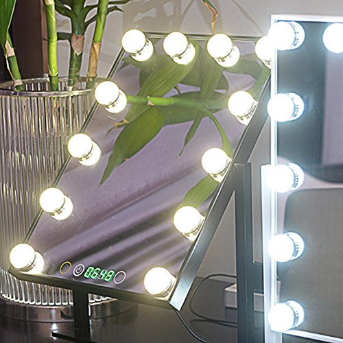 Geek-House Tabletops Lighted Makeup Mirror Hollywood Style with LED Bulb & Dimmer & Clock USB Powered Valentine's Day Gift Black by GeekHouse (Image #5)
