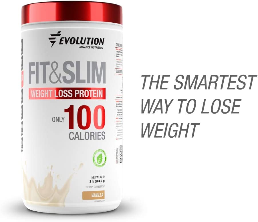 Evolution Advance Nutrition FIT SLIM PROTEIN FAT BURNER with only 100 CALORIES per serving. Whey Protein fiber Glucomanan Chromium Picolinate. 2lbs 30 servings. Sweetened with Stevia Vanilla