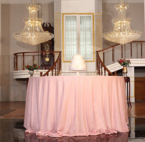Mauve Elegance Round Tablecloth - PartyDelight Sequin Tablecloth, Round, 70