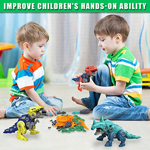 Rtudan Take Apart Dinosaur Toys for Kids-4 Pack Easter Large Dino Eggs Construction Engineering Play Kit Toys for 3 4 5 6 7 Year Old Boys