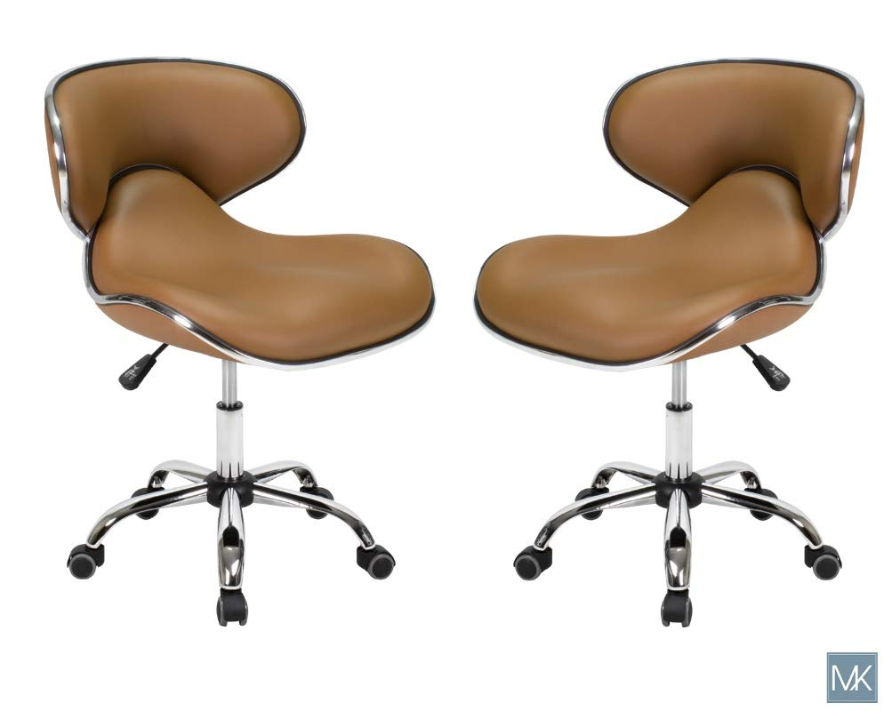 Set of 2 UMI Nail Technician Stools CAPPUCCINO Adjustable Height 19''-25'' Perfect for Nail Salon, Manicures