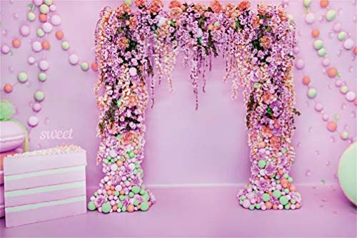 Leyiyi 10x8ft Wedding Ceremony Backdrop Floral Arch Door Rose Bouquet Ballons Macaron Banner Cake Pillow Photography Background Sweet Marriage Bridal Shower Portrait Studio Prop Vinyl Wallpaper
