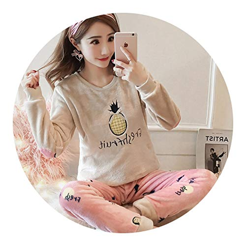 2018 Womens Pajamas Set Winter Thick Warm Flannel Pajama Sets,Rong Boluo Library,M