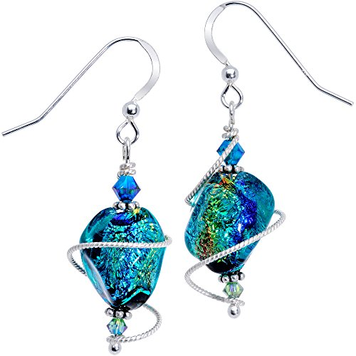 Body Candy Handcrafted 925 Silver Tealish Dichroic Dangle Earrings Created with Swarovski Crystals