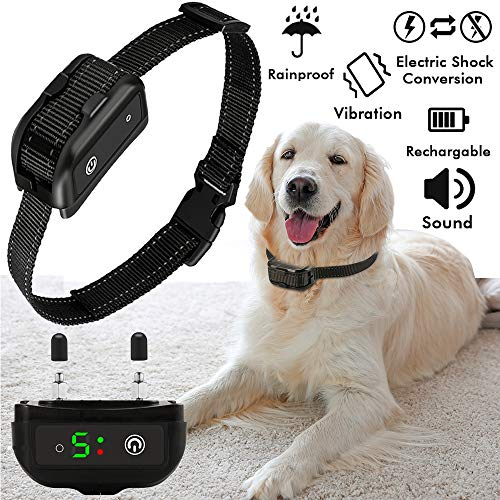 Bark Collar For Dogs Anti Barking Control Collar with 7 Gears Sensitivity, Vibration, Sound, Harmless Shock Rechargeable Stop Barking Device for Small Medium, Large Dog, Safety Training Collar