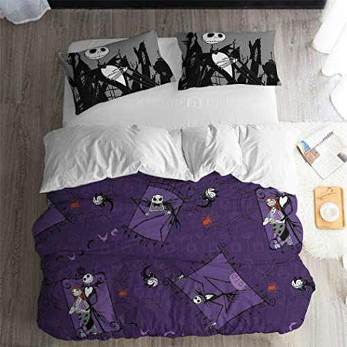 ARL HOME Nightmare Before Christmas Purple Couple Duvet Cover 3PC Queen Size Halloween Graffiti Bedding Sets Halloween Skull Black Jack Pillowcases Cartoon Movie Anime Halloween Quilts Cover -