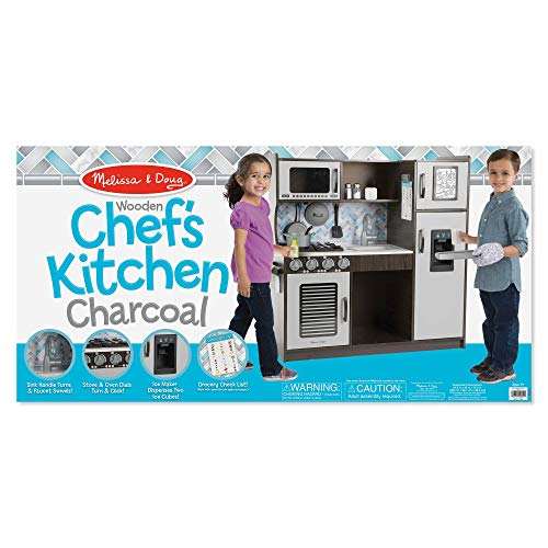 "51ZxmLTOWaL - Melissa & Doug Wooden Chef's Pretend Play Toy Kitchen With ""Ice"" Cube Dispenser – Charcoal"