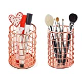 Leegodar Rose Gold Pencil Pen Holder Cup for Office Student Desk, Makeup Brushes Round Metal Container Organizer with Non-Slip EVA Bottom, Set of 2