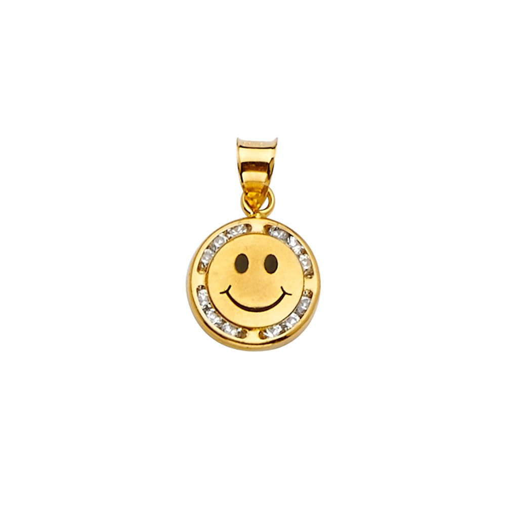 Wellingsale 14k Yellow Gold CZ Cubic Zirconia Smile Pendant Size : 17 x 9 mm
