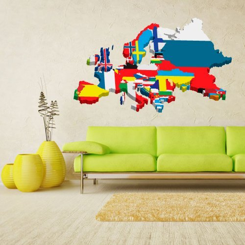Full Color Wall Decal Mural Sticker Decor Art World Map Banners Flag Countries Paintings (Col548)