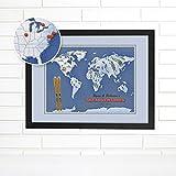 Ski or Snowboard Adventures Personalized World Push Pin Map Art