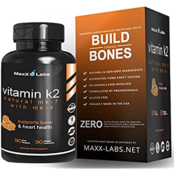 BEST Vitamin K2 ★ 600 mcg ★ Advanced Formula - All Natural MK7 Natto and MK4 Plus Calcium 100 mg - Vitamins K MK-7 + MK-4 - No GMOs, Organic, Vegan K2-MK7 Supplement Complex K2-7 M7 - 90 Veggie Caps
