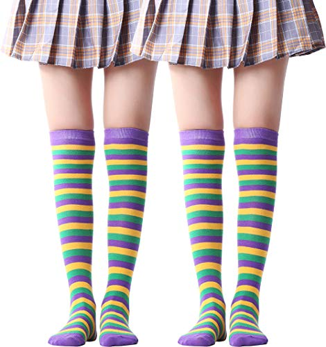 JASMINO Over Knee Long Sock Striped Mardi Gras Socks St. Patrick's Day Stockings (Purple Yellow Green Socks Over Knee 2 Pairs)]()