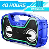 Bluetooth Speakers, AOMAIS 40-Hour Playtime Portable Outdoor Wireless Speaker with 10000mAh Battery,25W Louder Volume & Deeper Bass丨 IPX7 Waterproof 丨LED Lights for Party, Beach[2019 Newest]-Blue