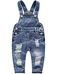 ba74d884a23f Little Boys  Girls  Ripped Holes Jeans Jumpsuit Rompers Overalls