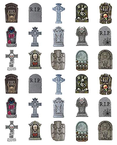 Halloween Assorted Tombstones Cupcake Toppers 1.5