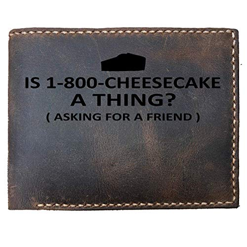 Lobsteray Asking For A Friend Custom Laser Engraved Leather Bifold Wallet for Men Funny Cheesecake Lovers Gifts