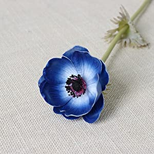5Pcs Artifical Real Touch PU Anemone Flower Bouquet Room Home Decor (Blue) 4