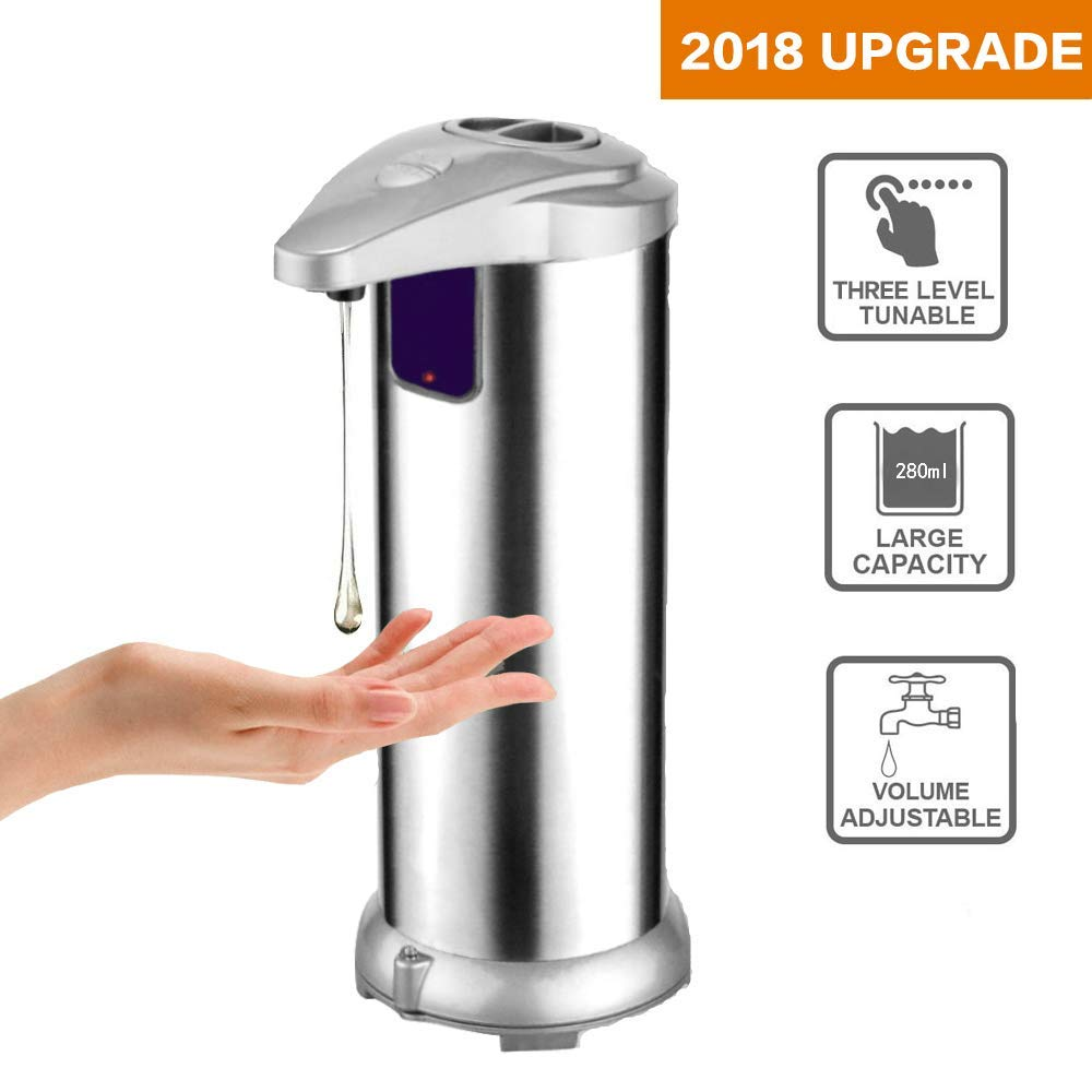 Automatic Soap Dispenser Hand Free Fingerprint Resistant Stainless Steel Touchless Infrared Motion Sensor Dish Liquid Auto Soap Dispenser for Kitchen Bathroom Shower 280ML Newest by Lucky US