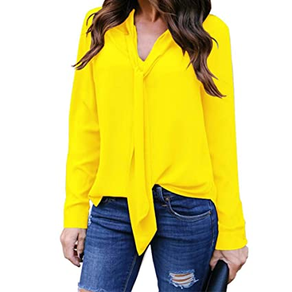 2561dd043090d Image Unavailable. Image not available for. Color  Clearance! Women Chiffon  Long Sleeve Plus Size Tops ...