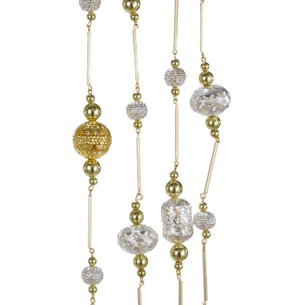 Kurt Adler 6' Silver and Gold Metal Beads Garland