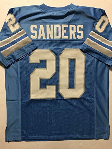 Unsigned Barry Sanders Detroit Blue Custom Stitched Football Jersey Size XL New No (Barry Sanders Autographs)