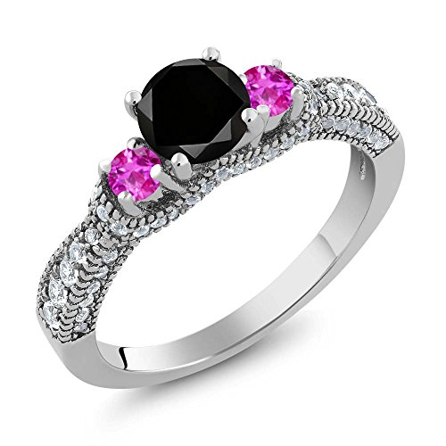 1.80 Ct Round Black Diamond Pink Sapphire 925 Sterling Silver Ring (Round Pink Sapphire Ring)
