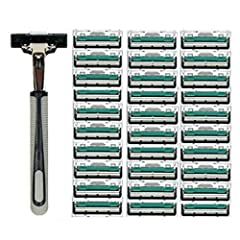 Blade edges are coated to ensure smooth shaves and long blade life. Ergonomic Designed and Anti-slip Handle. Fits perfectly and naturally in your hand. These premium disposable razors for men come with a reusable handle and 12/30 double layer...