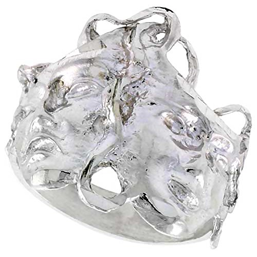 Sterling Silver Drama Masks Ring Polished finish 11/16 inch wide, size 9