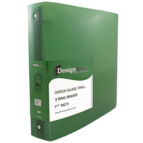 "JAM Paper Plastic 3 Ring Binder- 1.5"" - Green - Sold individually"