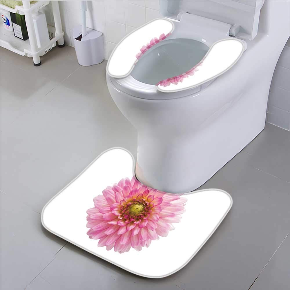Jiahonghome Use The Toilet seat Pink Chrysanthemum on a White Background Non-Slip