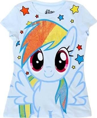 My Little Pony Rainbow Dash Sparkle Hair Youth Light Blue T-shirt (Youth X-Small)