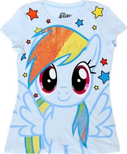 My Little Pony Rainbow Dash Sparkle Hair Youth Light Blue T-shirt (Youth X-Small) -