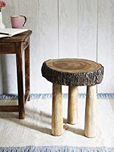Christmas Gifts Wooden Rustic Tree Trunk Slices Sitting Stool Medium Sized  Three Legged For Bar Counter Home Furniture Decor